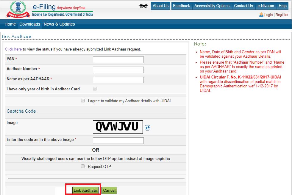 How to Link PAN to Aadhaar Card Online via e-Filing Website link adhar to pan
