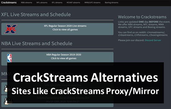 Top 5 Alternatives of Crackstreams | Crackstreams NFL NBA MMA – Live Sport on TV